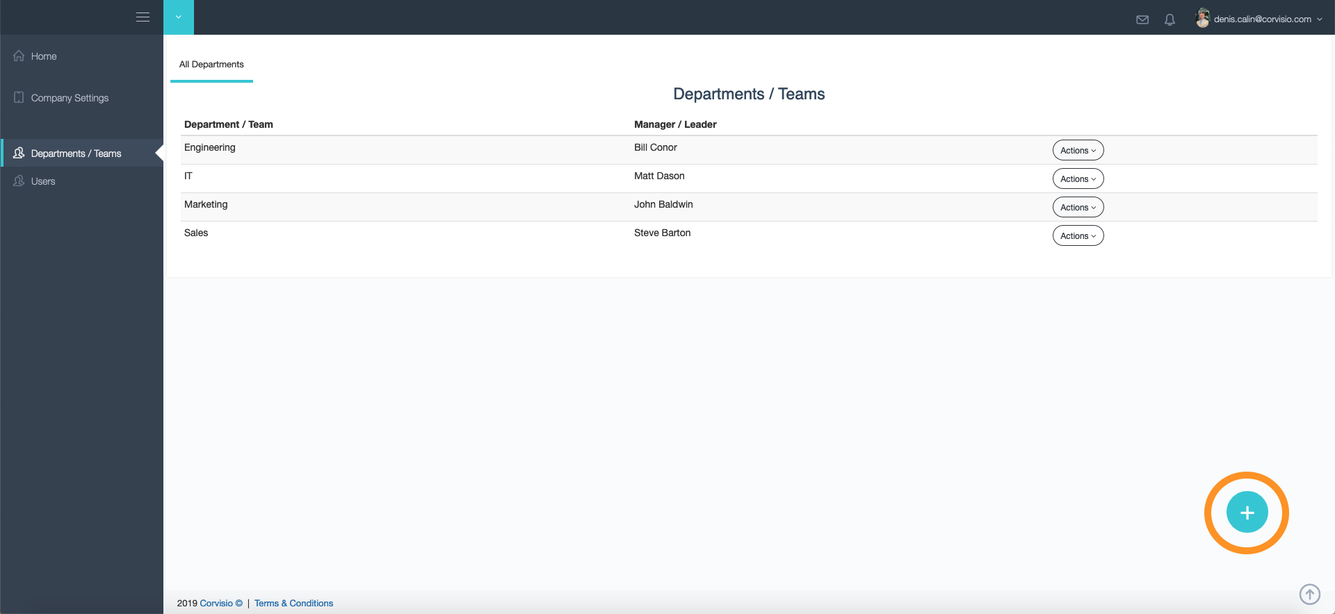 In the Departments/Teams tab you can add new teams and dapartments to your company profile