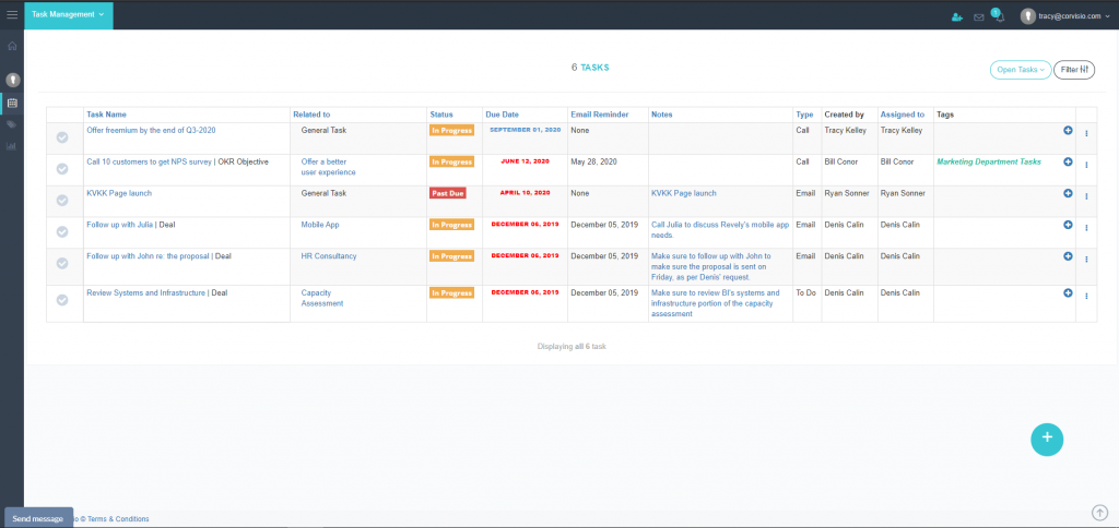 Corvisio My Tasks Page-home_page
